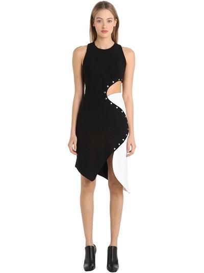 Mugler Studded Cutout Stretch Cady Dress
